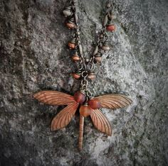 Check out Dragonfly in Amber Necklace-Ant Brass Dragonfly, Baltic Amber Beads, Czech beads on beadstoart