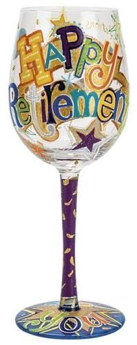 """Happy Retirement"" Wine Glass by Lolita (Hula Island)"