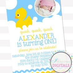 Boy Rubber Ducky W/ Photo Birthday by AmandaAshleyParties on Etsy, $12.00