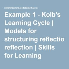 Kolb's Model reflection - this goes on to explain other reflective practice theories. See further pins regarding Kolb's Reflective Cycles - together they provide a broad range or concepts and questions to guide reflective practice. Reflective Learning, Reflective Practice, Learning Theory, Health Promotion, Decision Making, Professional Development, Learning Activities