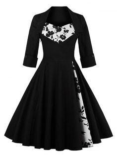 GET $50 NOW   Join RoseGal: Get YOUR $50 NOW!http://www.rosegal.com/vintage-dresses/floral-print-paneled-swing-dress-863458.html?seid=1026449rg863458