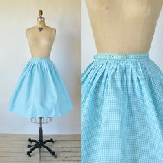 1950s Blue Gingham Skirt Vintage Full Pleated by DalenaVintage