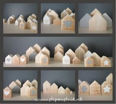 Funky little houses Scrap Wood Crafts, Wooden Crafts, Wooden Diy, Small Wooden House, Crafts To Make, Diy Crafts, Miniature Houses, Wood Toys, Little Houses