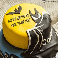 Create Batman Best Birthday Cake For Boys with name photo on best online generator with editing options and send happy birthday wishes. Online Birthday Cake, Batman Birthday Cakes, Batman Cakes, Happy Birthday Cakes, Boy Birthday, Beautiful Birthday Cakes, Very Happy Birthday, Cake Writing, Cake Name