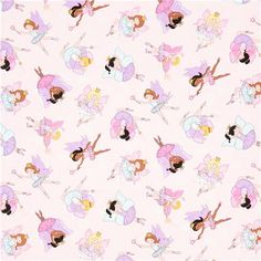 pink ballerina fairy fabric with glitter Timeless Treasures
