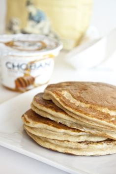 Honey Wheat Protein Pancakes  makes 4 four inch pancakes    6 oz Chobani 0% Honey Greek Yogurt  2 egg whites  1/2 cup whole-wheat flour  1 tsp baking soda