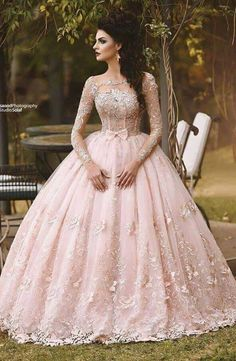 Cheap princess bridal gown, Buy Quality bridal gown directly from China bridal gowns in dubai Suppliers: Vestido de Novia 2017 Blush Pink Lace Ball Gown Wedding Dress Long Sleeves Boat Neck Flora Princess Bridal Gowns in Dubai Quince Dresses, 15 Dresses, Ball Dresses, Pretty Dresses, Formal Dresses, Dresses Online, Formal Prom, Pink Wedding Gowns, Long Wedding Dresses