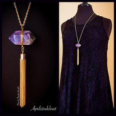 "Boho Stone Pendant Gold Layered Tassel Necklace NEW WITH TAGS   Boho Stone Pendant Gold Tassel Necklace    * Gorgeous gold-tone capped tassel.   * Beautiful amethyst stone.     * Chain measures about 30"" in length.  * Pendant measures about 4.5"" long.  * Lobster clasp ***Each necklace is unique & varies slightly in color.  Material: Hematite plated zinc, stone, & glass. Item:   No Trades ✅Offers Considered*/Bundle Discounts✅ *Please use the 'offer' button to submit an offer. Boutique Jewelry…"