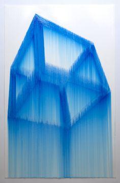 Cube, Blue. 2011 Marker, gloss medium on paper 26 x 40