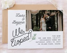 printable elopement announcement card · we eloped · retro wedding announcement · just married card · simple rustic wedding · wedding photo Elopement Party, Elopement Reception, Beach Wedding Reception, Beach Wedding Decorations, Wedding Events, Our Wedding, Rustic Wedding, Wedding Ideas, Wedding Bells