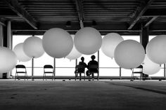 Black and white image of balloons Couple Photography, Art Photography, Weather Balloon, Big Balloons, Nyc Photographers, White Image, Couples In Love, Magazine Art, Love People