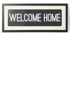 Black and white 'welcome home' framed print 90x30cm