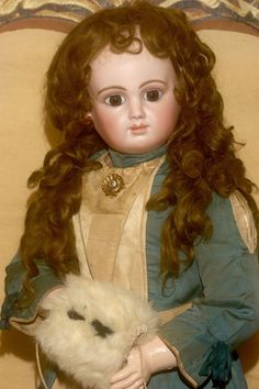 """30"""" Rare Bebe Mothereau with Original Signed B.M. Body, Antique Clothes and Mint Extension Wig."""