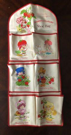 via Vintage Strawberry Shortcake Shoe Bag Extremely Rare! Strawberry Shortcake Cookies, Vintage Strawberry Shortcake Dolls, Purple Pie Man, Pixie Cut Color, Sour Grapes, Raspberry Tarts, Bear Cookies, Bear Doll, Blue Berry Muffins