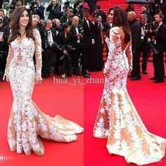 Long Sleeve Celebrity Evening Dresses Inspired by Najwa Karam in 2013 Cannes with White Appliques on Nude Tulle Buy 1 Get Free Necklace Long Sleeve Evening Dress Najwa Karam Dresses Nude Fashion Online with $201.04/Piece on Hua_yi_zhang's Store | DHgate.com