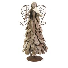 Angel decor with layered driftwood detail and scrolling metal wings.  Product: Angel decorConstruction Material: