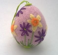 felted and embroidered egg felt daffodil easter egg £9.00
