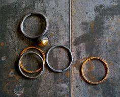 Fused Gold Pod Stack Ring Set via Etsy