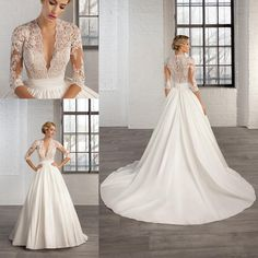 Ball Gown Wedding Dresses Elegant Lace Wedding Dresses 2016 Plus Size Sexy V Neck Half Sleeves Satin Custom Made Court Train Spring Winter Church Garden Bridal Gowns Casual Wedding Dresses From Nameilishawedding, $125.66| Dhgate.Com