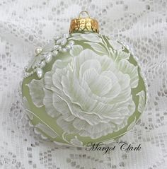 Soft Green Hand Painted Ornament with White 3D Floral Texture Design with Bling…