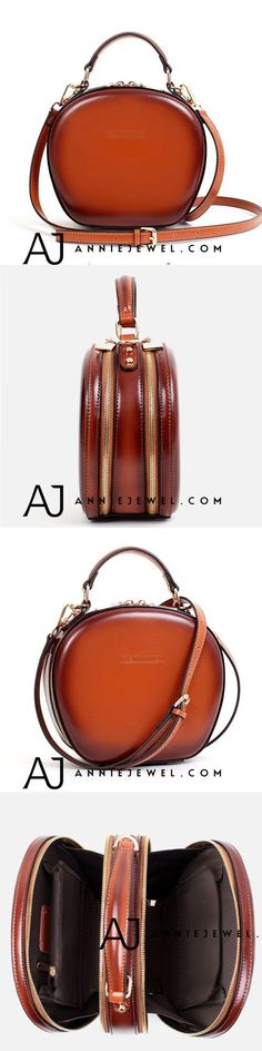 GENUINE LEATHER HANDBAG VINTAGE HANDMADE CIRCLE BAG SHOULDER BAG CROSSBODY BAG PURSE FOR GIRLS WOMEN