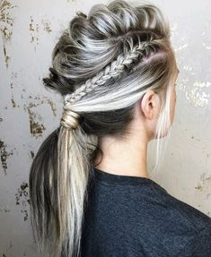 Half Up Half Down Hairstyle Weddinghair Hairstyle Halfup Wedding - half ponytail hairstyles ponytail hairstyles bridesmaid Braided Ponytail Hairstyles, Weave Hairstyles, Cool Hairstyles, Half Ponytail, Mohawk Ponytail, Viking Hairstyles, Teenage Hairstyles, Workout Hairstyles, Mohawk Braid Styles