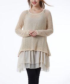 Look what I found on #zulily! Beige Crochet Layered Tunic #zulilyfinds