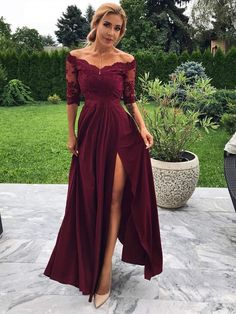 Off the Shoulder Half Sleeve Burgundy Modest Prom Dress Lace Prom Dress, Prom Dresses, Modest Prom Dress, Burgundy Prom Dress Prom Dresses 2020 Bridesmaid Dresses With Sleeves, Evening Dresses With Sleeves, A Line Prom Dresses, Cheap Prom Dresses, Formal Evening Dresses, Modest Dresses, Simple Dresses, Dress Prom, Elegant Dresses