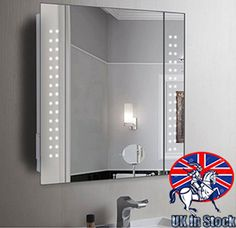 Photographic Gallery led Illuminated Bathroom Mirror Storage Wall Cabinet shaver demister sensor