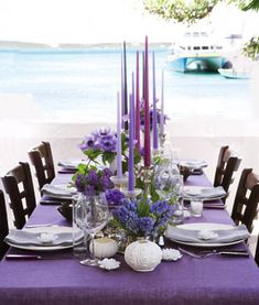 Purple Seaside Wedding Decor . Plum Perfect PURPLE SEASIDE WEDDING DECOR Plum Perfect The Landing, a boutique hotel on scenic Harbour Island, Bahamas, sparked some sophisticated tropical touches for this island celebration. Fragrant, 12-sided tapers, from The Bea Man, 704-333-4823, take table design to new heights. Linens and napkins from Libeco, libeco.com. Flatwware from Sabre, la-cafetiera.com. Candles, votives and vases, all from Roost, available through ariellaflowers.com. Flowers…