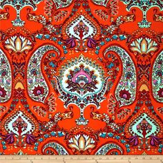 ITY Jersey Knit Mid Paisley Mint/Orange from @fabricdotcom  This silky ITY jersey knit is perfect for creating flowy tops, fuller skirts and drapey dresses with a lining. It has a super smooth hand, fluid drape and about 40% stretch across the grain for comfort and ease.