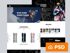 Snowboarding is a clean and modern one-page website template. An exclusive free PSD designed by Andrey S. Rodrigues, a talented 19 years web and UI designer. One Page Website, Website Ideas, Free Website, Modern Web Design, Page Design, Ux Design, Design Ideas, Portfolio Website, Psd Templates