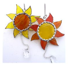 Sun 12cm 016 yellow amber Stained Glass Suncatchers, Crystal Drop, Home Crafts, Silver Color, Sunshine, Presents, Things To Come, Crystals, Amber