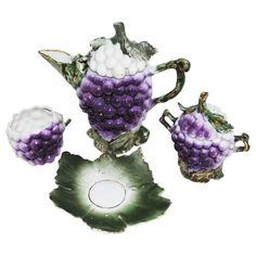 Wonderful Grape Majolica Miniature Tea Set