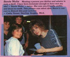 a lucky fan with her idol, Stevie ~ ☆♥❤♥☆ ~ Buckingham Nicks, Stephanie Lynn, Stevie Nicks Fleetwood Mac, Concert Posters, Idol, White Witch, Singer, Drown, Music