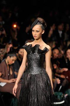 Fierce fashion from Maori designer Shona Tawhiao at the 2011 New Zealand Fashion Week.
