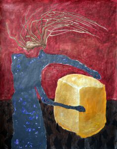 Theodor Grigoras - Fat is Gold (Beuys reinterpretation) acrilyc paint on paper,200x150 cm 2014