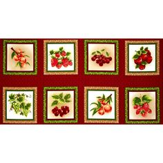 Fresh Harvest Fabric Panel - : Sewing Parts Online Drapery Fabric, Fabric Panels, Fruits Images, Kitchen Fabric, Beautiful Fruits, Panel Quilts, Shades Of Green, Black Shades, Cotton Quilts