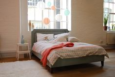 Louis king size upholstered bed in house textured cotton 'Thyme' £795  http://www.sofa.com/shop/beds/upholstered-beds/louis#230-HTCTHY-0-0