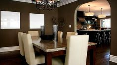 Suzie: Jeff Lewis Design - Modern, contemporary dining room design with dark taupe walls green ...