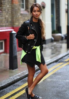 Dress: Finders Keepers Jacket: Anine Bing Flats: Chanel Backpack: 3.1 Phillip Lim Neon Sweater: J Crew