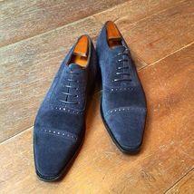 Those blue suede shoes. Blue Dress Shoes, Blue Suede Shoes, Suede Leather Shoes, Cap Toe Shoes, Men's Shoes, Shoe Boots, Shoes Men, Custom Design Shoes, Formal Shoes