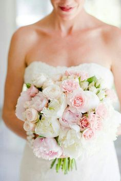 Romantic Bridal Bouquet Showcasing: White & Pink Peonies, Pastel Pink Ranunculus, Light Pink Roses, & Blushing Bride Protea·····