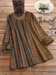 Where to buy corduroy blouse? NewChic offer quality corduroy blouse at wholesale prices. Shop cool personalized corduroy blouse with unbelievable discounts. Blouse Online, Long Blouse, Stylish Dresses, Stylish Dress Book, Stripe Print, Plus Size Blouses, Corduroy, Blouses For Women, Fashion Outfits