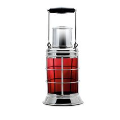 Port Cocktail Shaker in Asprey hallmarked sterling silver with red glass by Asprey of London