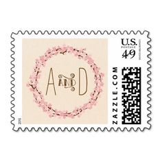 Cherry Blossom Floral Wreath Spring Wedding Postage