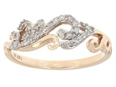 Add a little vintage to your day! - .18ctw Round White Diamond 10k Rose Gold Filigree Ring
