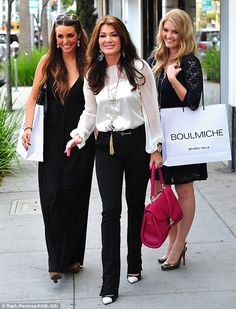 Glamorous: Lisa Vanderpump enjoyed a day of shopping in Beverly Hills with her gorgeous blonde daughter Pandora, right, and pal Scheana Marie Jancan