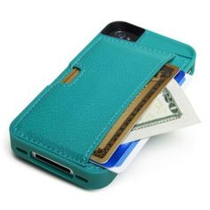 iPhone Wallet Card Case for Apple iPhone 4/4S (Pacific Green)