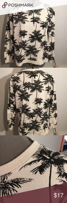 Vacation Time! New Palm Tree Pullover Forever 21 New never worn! Palm tree light pullover from forever 21 size Medium! Beige with black print! Perfect to throw over ur bathing suit for windy nights on the beach:) offers and bundle discounts welcomed:) Forever 21 Tops Sweatshirts & Hoodies